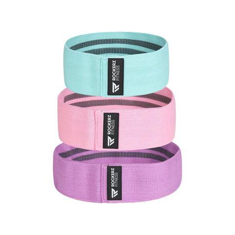 rockerz fitness® weerstandsbanden booty band  resistance band roze paars blauw