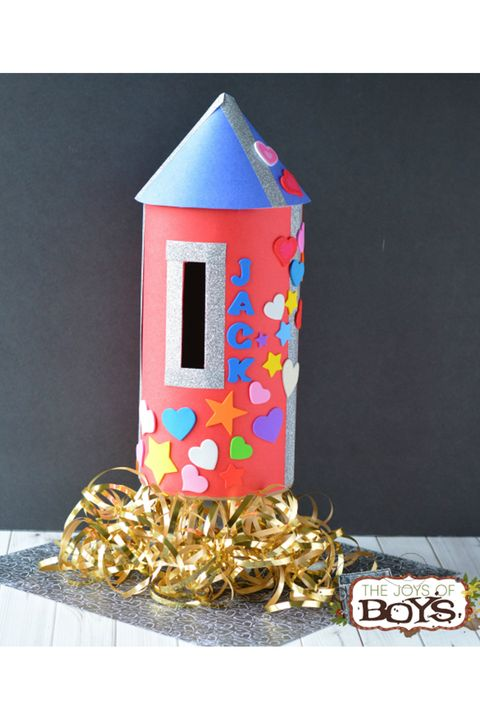 rocket ship valentine's day mailbox