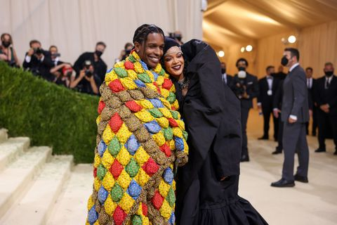 rihanna and asap rocky at the 2021 met gala celebrating in america a lexicon of fashion