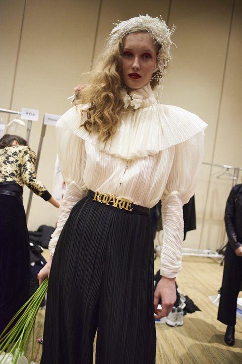 Clothing, Fashion, Fashion design, Costume, Event, Dress, Fashion accessory, Costume design, Hair accessory, Long hair,