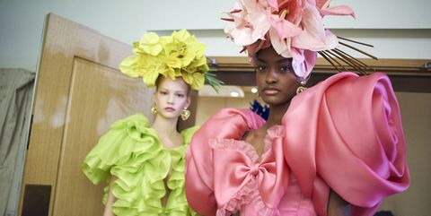 Pink, Yellow, Fashion, Peach, Dress, Outerwear, Formal wear, Flower, Plant, Costume,