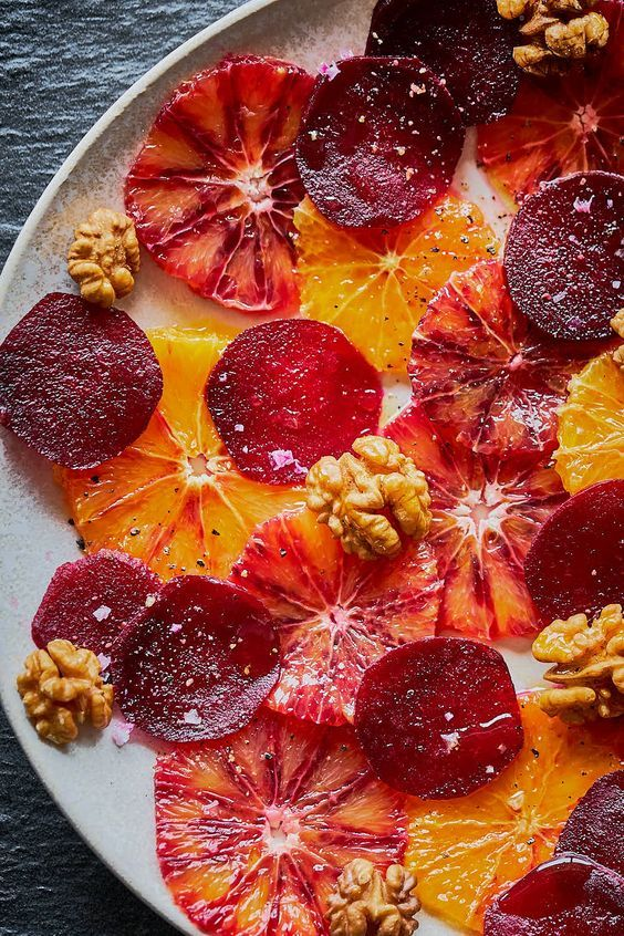 recept voor vegan rode bieten carpaccio met sinaasappel