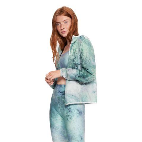rohnisch printed windjack groen blauw winddicht jack wind jas sportjas hardlopen