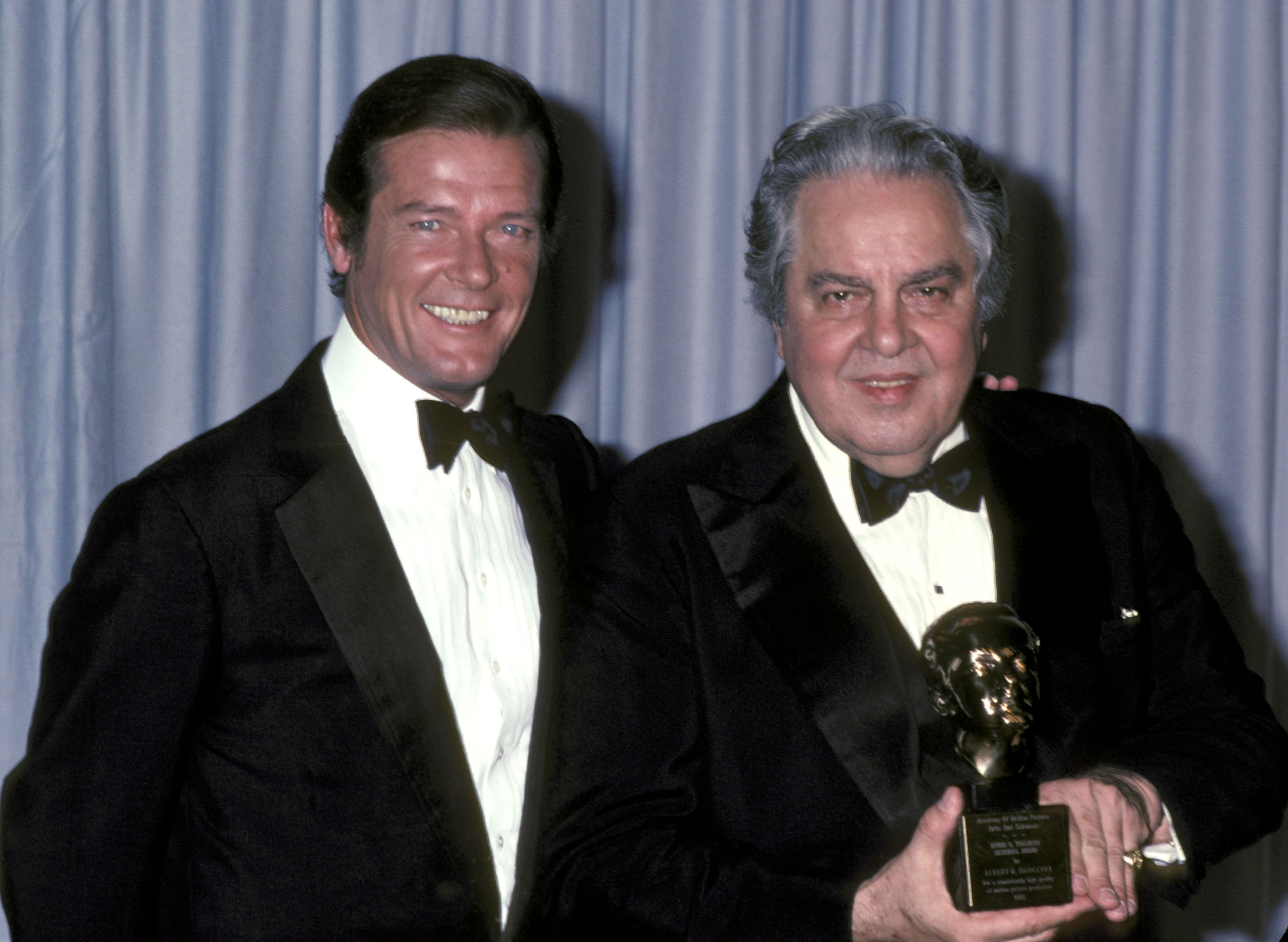 Roger Moore and Albert Broccoli at the 54th Annual Academy Awards in 1982. Broccoli had just received the Irving G. Thalberg Memorial Award, a top honor for film producers.