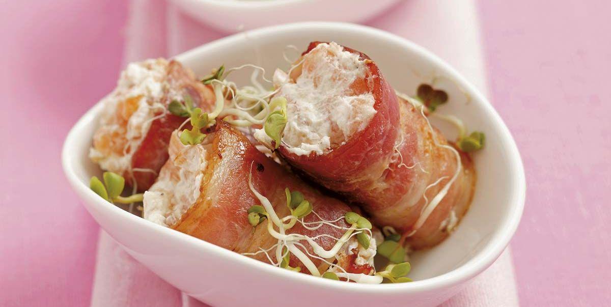 Rollitos de beicon y mousse de salmón
