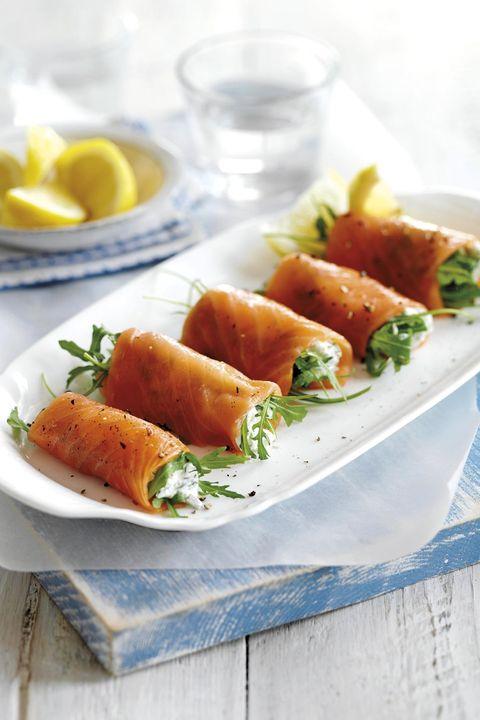 rollitos de salmón ahumado con queso crema