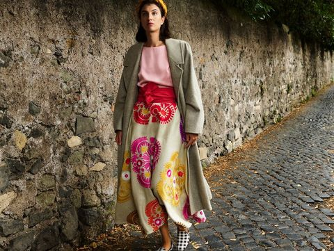 Clothing, Pink, Street fashion, Fashion, Outerwear, Dress, Footwear, Tree, Photography, Costume,