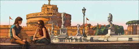 Art, Illustration, Architecture, History, City, Building, Tourism, Painting, Mural,