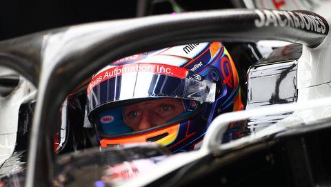 Romain Grosjean of France and  Haas F1 Team in the garage...