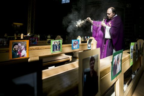 Austrian Priest Holds Daily Mass, His Congregation Represented By Photos