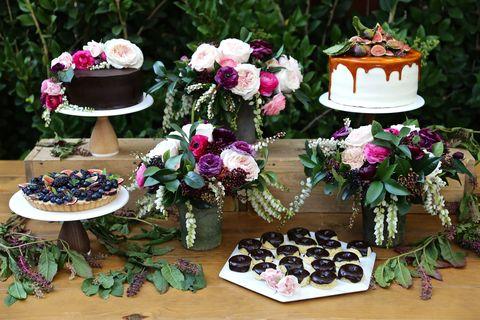 romantic bridal shower dinner party dessert table