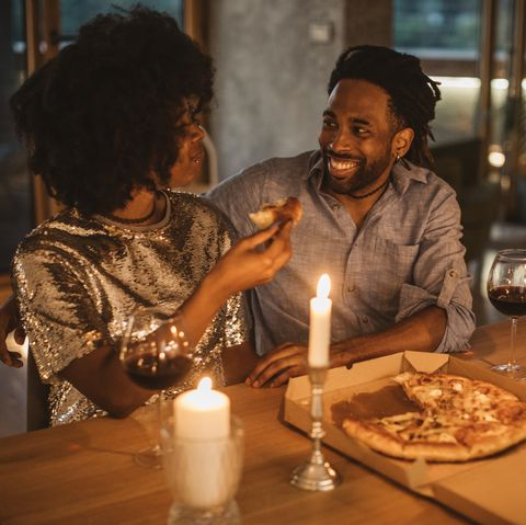 romantic pizza evening at home