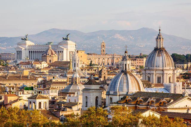 rome skyline at sunset, lazio, rome