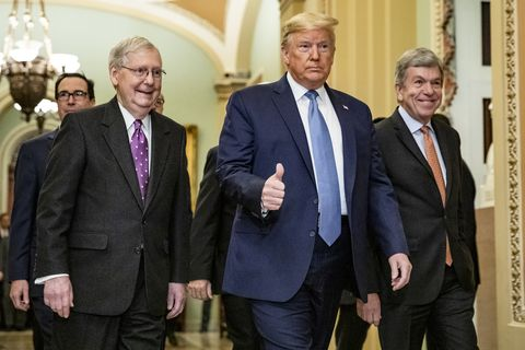 washington, dc   march 10 president donald trumps arrives at the us capitol to attend the republicans weekly policy luncheon on march 10, 2020 in washington, dc photo by samuel corumgetty images  local caption  donald trump