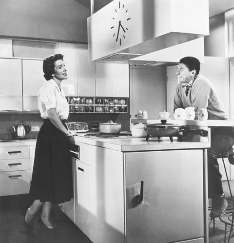 ronald and nancy reagan in a kitchen