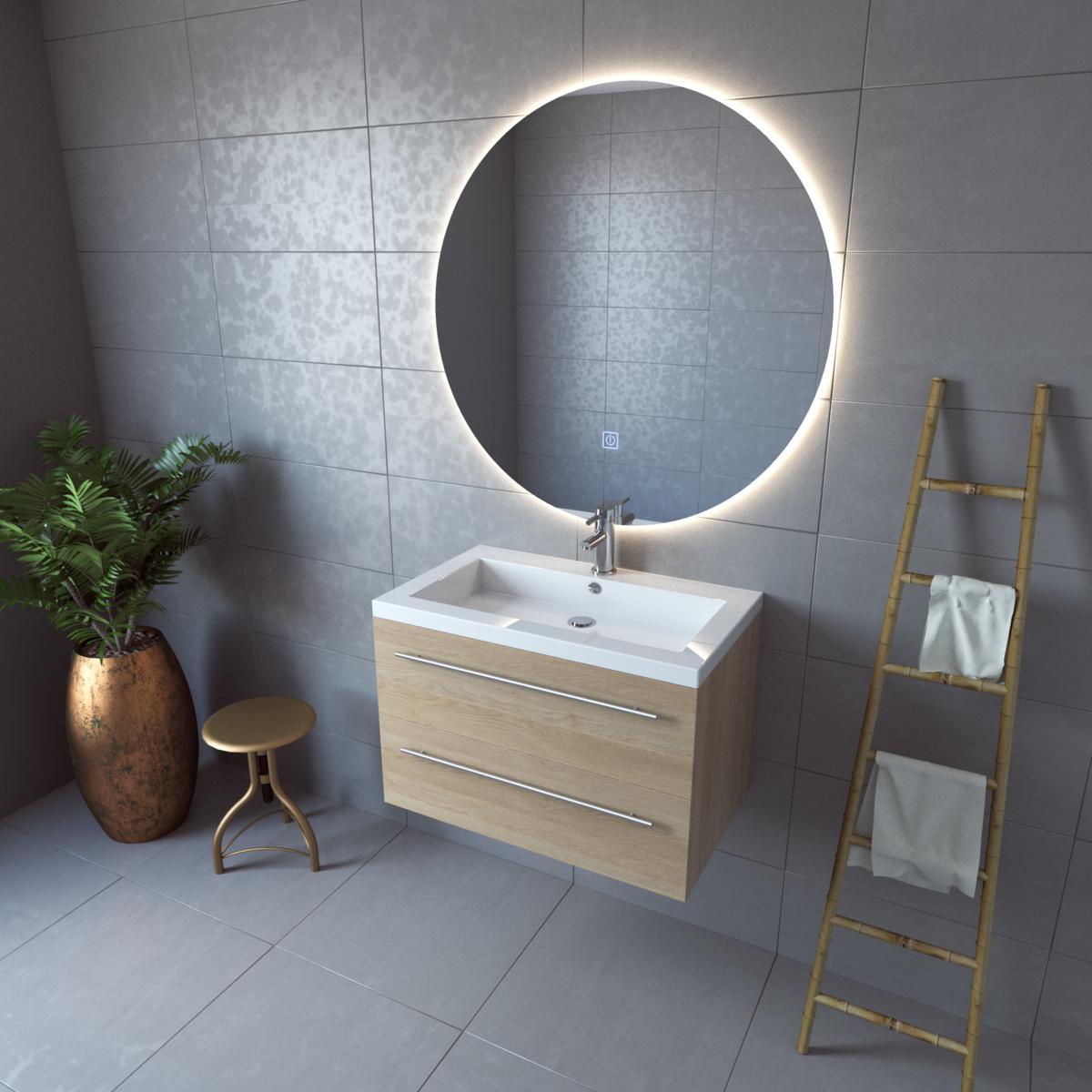 ronde spiegel, trend, 2018, badkamerspiegel,Adema Circle, badkamerspiegel rond,metLED,verlichting, met licht,spiegelverwarming, touch schakelaar