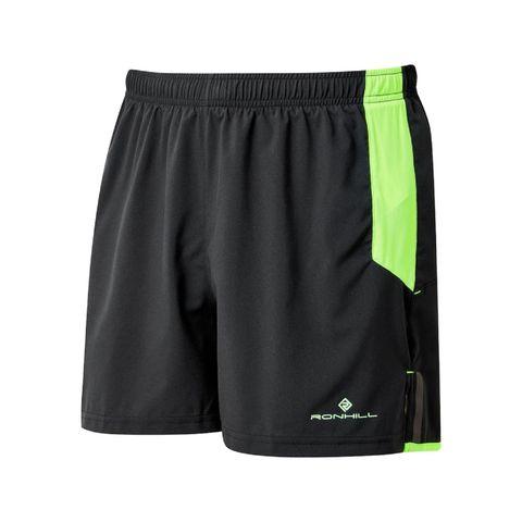 ronhill shorts zwart neon groen hardloopshorts zakken sportbroekje shorts