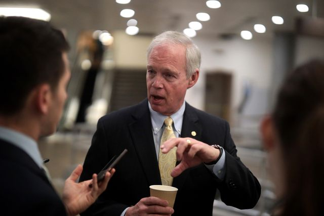 washington, dc   february 25 sen ron johnson r mn talks to reporters after attending briefing from administration officials on the coronavirus, on capitol hill february 25, 2020 in washington, dcrepresentatives from hhs, cdc, nih and state department briefed the senators photo by mark wilsongetty images