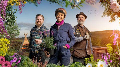 the great garden revolution   channel 4 televtion  presenters bruce kenneth, poppy okotcha and joel bird