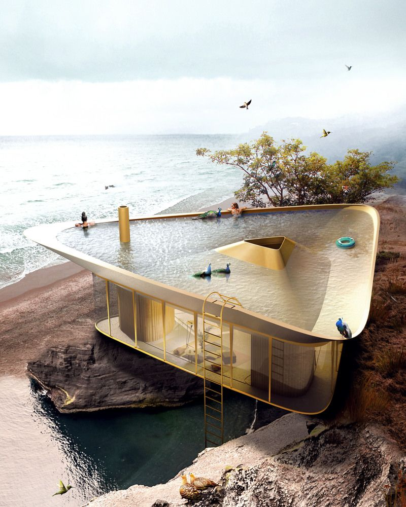 This House Has an Inverted Roof That Can Be Used as a Pool