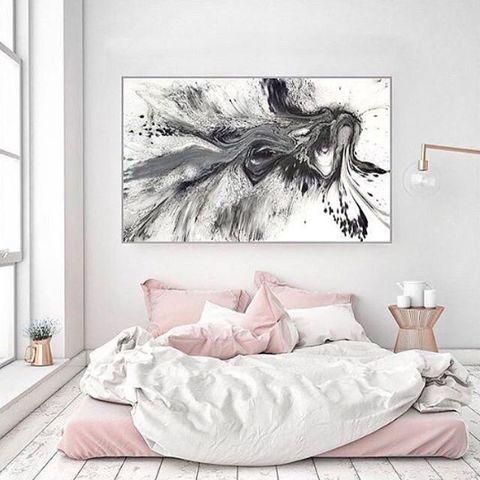 Bedroom, Wall, Room, Bed, Furniture, Feather, Modern art, Interior design, Art, Wallpaper,