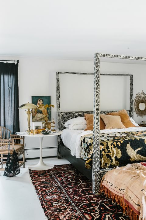 Bedroom with neutral patterns