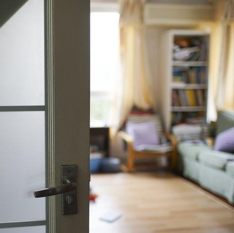 Room interior view with door open