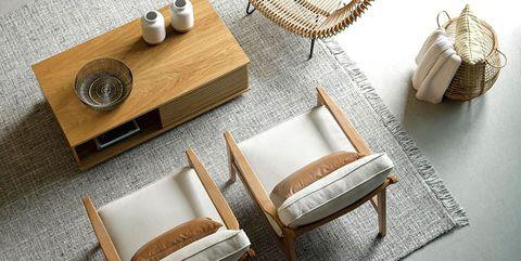 Coffee table, Table, Furniture, Room, Interior design, Living room, Beige, Wood, Floor, Wicker,