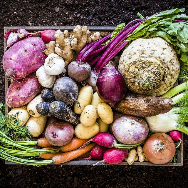 basket of root vegetables