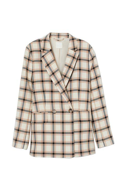 Clothing, Plaid, Outerwear, Tartan, Pattern, Sleeve, Jacket, Blazer, Design, Beige,