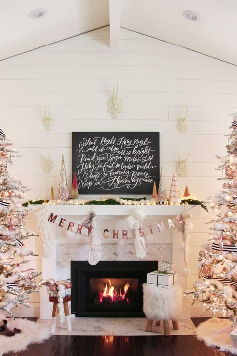 rose gold christmas decorations mantel