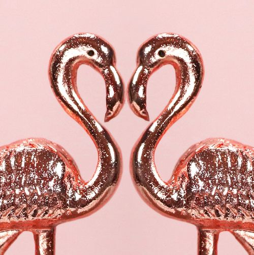 rose gold flamingos love heart shape