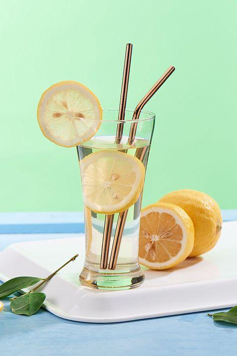 Food, Lemon, Drink, Citrus, Lemonade, Smoothie, Cocktail garnish, Lime, Drinking straw, Non-alcoholic beverage,