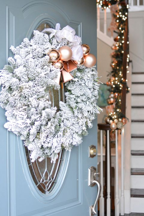 rose gold christmas decorations wreath