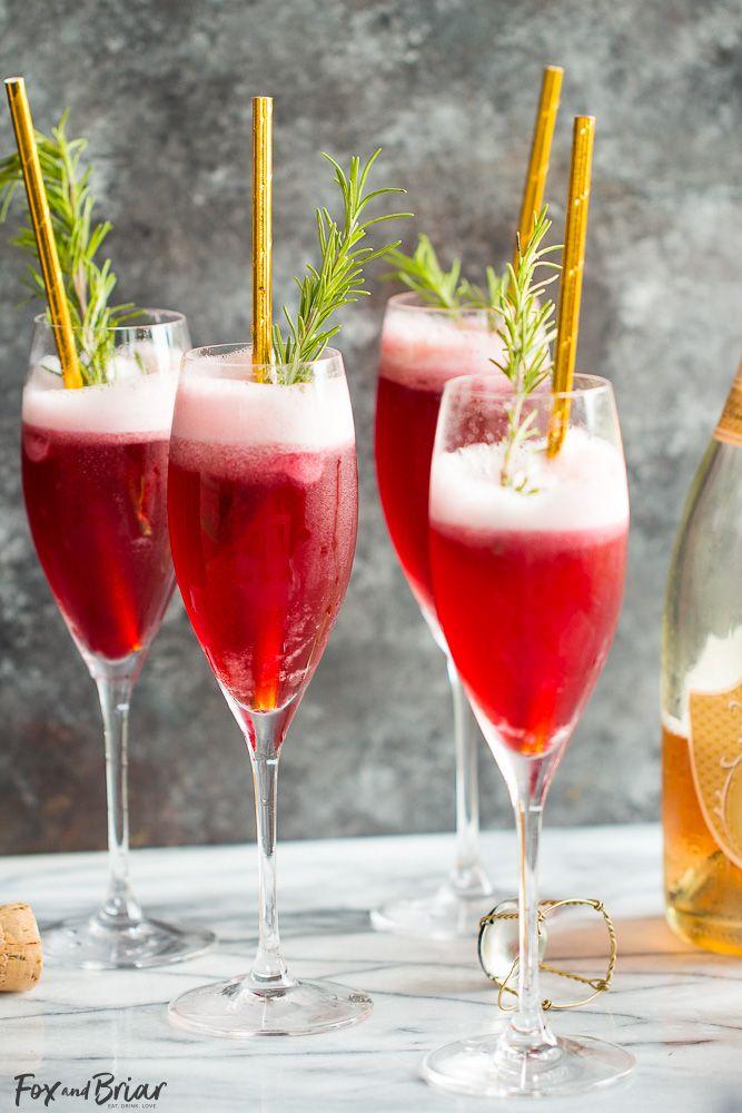 rosé raspberry sorbet mimosas