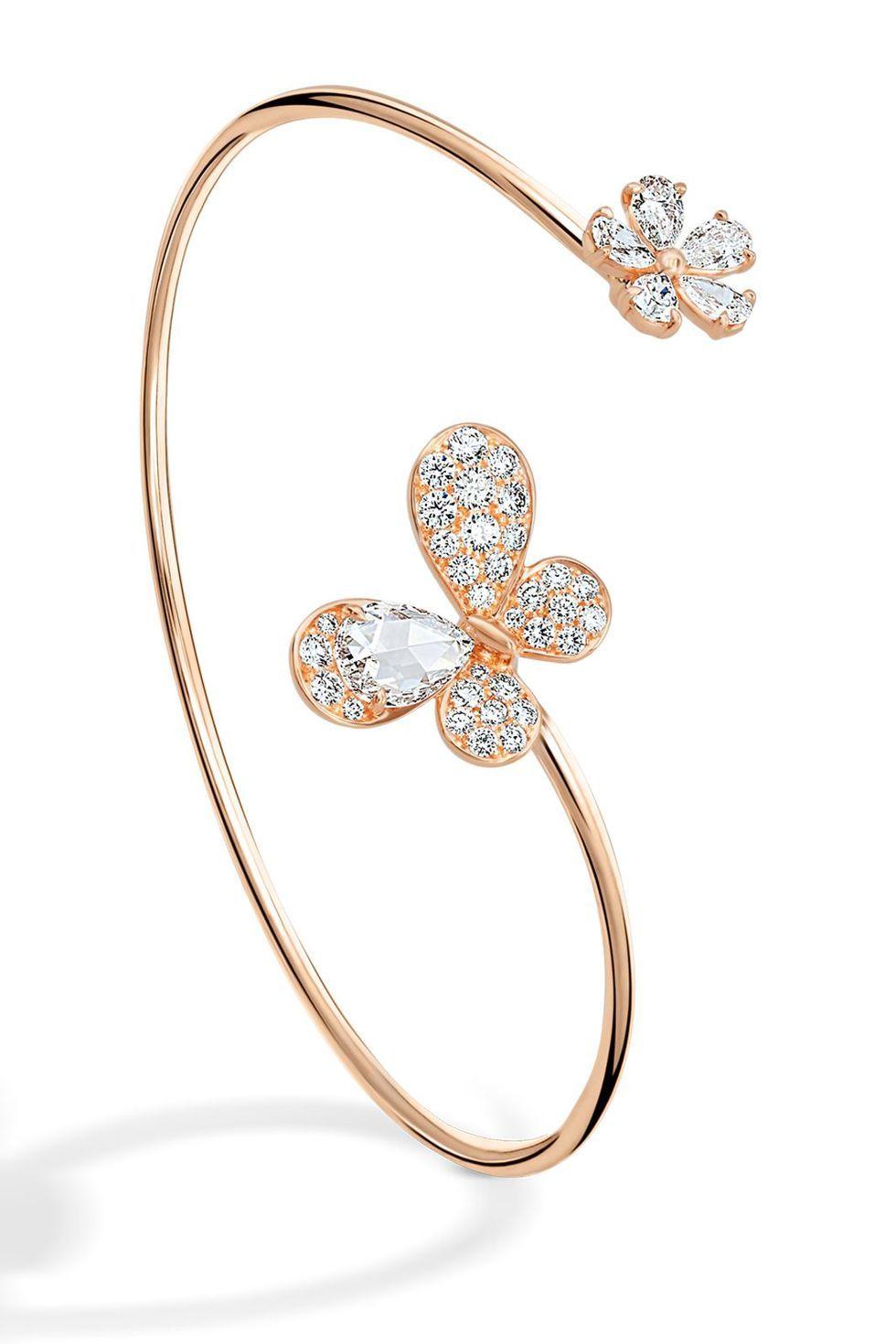 HOT Elegant Women/'s Crystal ROSE Flower Bangle Cuff Bracelet Jewelry Gold LOVE