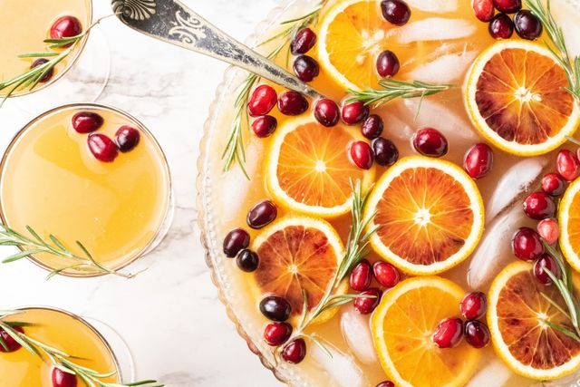 rosemary blood orange gin fizz punch