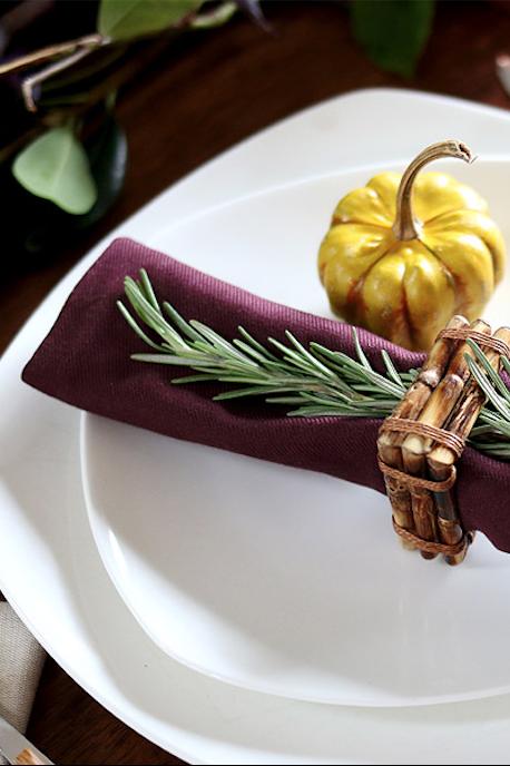 thanksgiving table setting rosemary