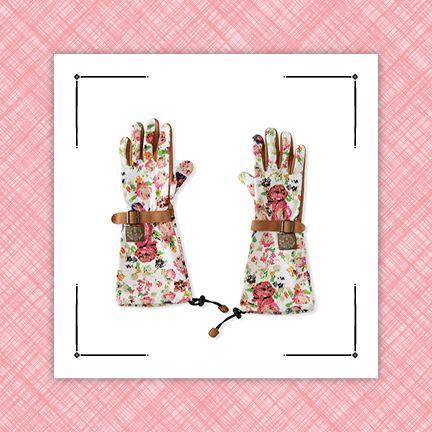 rose printed umbrella and garden gloves