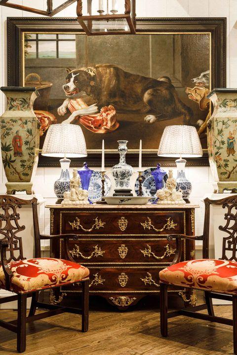 antiques on dresser