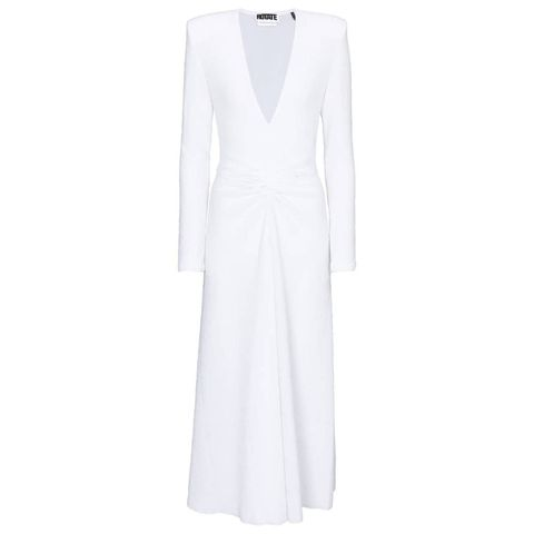 rotate birger christensen lili ruched jersey midi dress