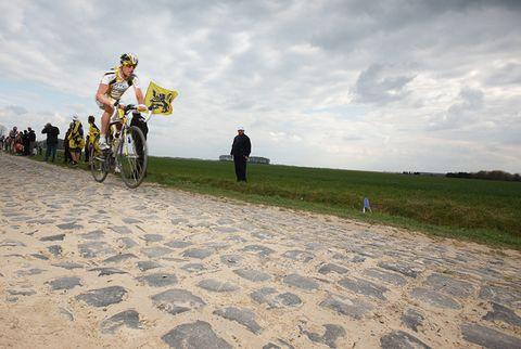 cyclist paris roubaix cobblestones