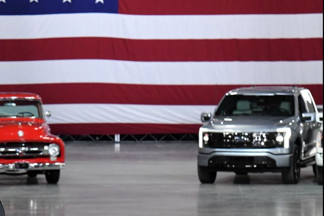 dearborn, mi may 18, 2021    president joe biden spoke today at the rouge electric vehicle center in dearborn, mich, manufacturing home of the all new, all electric ford f 150 lightning that goes on sale in mid 2022 the f 150 lightning will be officially revealed wednesday, may 19, 2021, at 930 pm edt photo by sam varnhagen