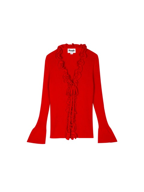 Clothing, Outerwear, Red, Sleeve, Jacket, Cardigan, Blazer, Top, Sweater, Neck,