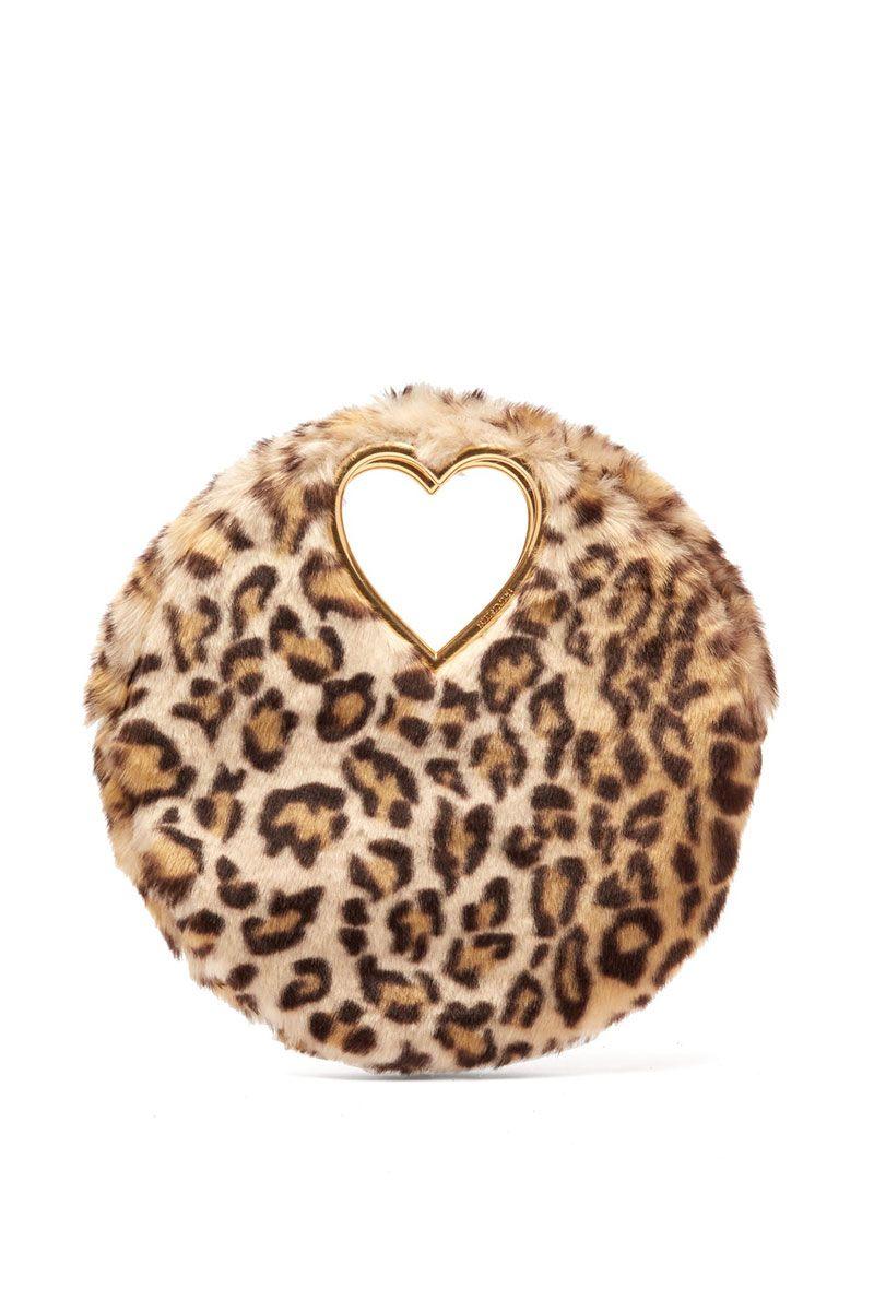 Circular leopard print clutch bag
