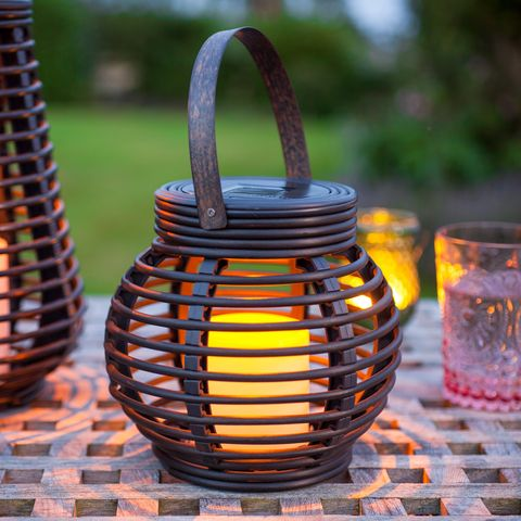 Round Solar Rattan Lantern Light by Lights4Fun