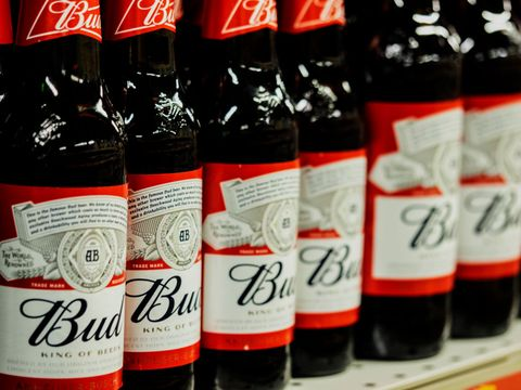 Row of Bud beer bottles seen at the store...
