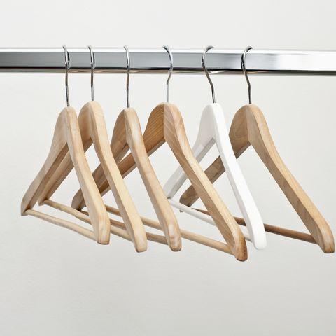 row of coat hangers