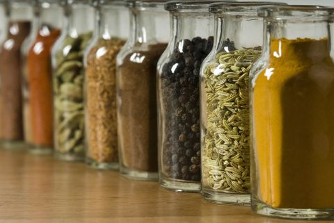 Row of spice jars
