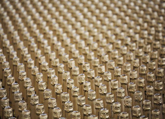 row of wine bottles full frame